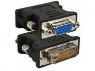 E-GREEN Adapter DVI-I Dual Link (M) - VGA D-sub (F) crni
